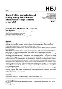 Binge drinking and drinking and driving among ... - SAGE Journals