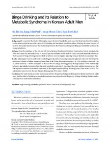 Binge Drinking and Its Relation to Metabolic ... - KoreaMed Synapse