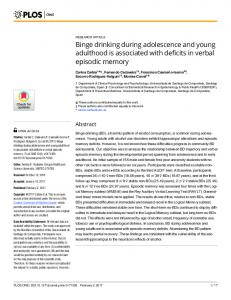Binge drinking during adolescence and young adulthood is ... - PLOS