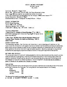 BIO 311 ANIMAL PHYSIOLOGY - Information Technology Services