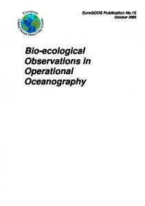 Bio-ecological Observations in Operational Oceanography - EuroGOOS