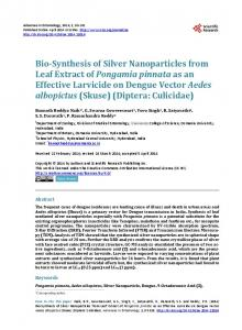 Bio-Synthesis of Silver Nanoparticles from Leaf Extract of Pongamia ...