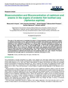Bioaccumulation and Bioconcentration of cadmium and arsenic in the