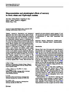 Bioaccumulation and physiological effects of mercury ... - Springer Link