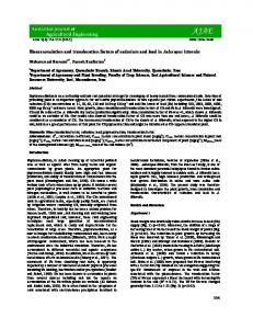Bioaccumulation and translocation factors of cadmium and lead in ...