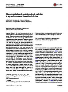 Bioaccumulation of cadmium, lead, and zinc in