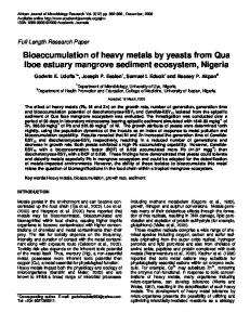Bioaccumulation of heavy metals by yeasts from ... - Academic Journals