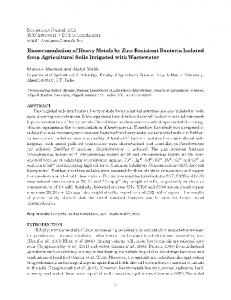 Bioaccumulation of Heavy Metals by Zinc Resistant Bacteria Isolated ...