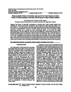 Bioaccumulation Pattern of Cadmium and Lead in the Head ... - Core