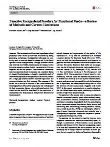 Bioactive Encapsulated Powders for Functional Foods ...