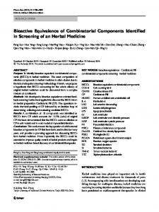 Bioactive Equivalence of Combinatorial Components ... - Springer Link