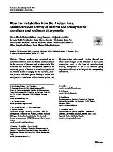 Bioactive metabolites from the Andean flora. Antituberculosis activity of ...