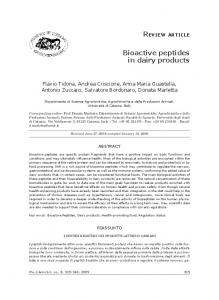 Bioactive peptides in dairy products