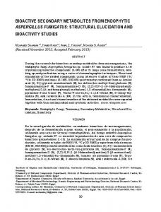 Bioactive secondary metabolites from endophytic Aspergillus