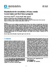 Bioadsorbents for remediation of heavy metals - Environmental ...