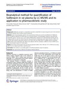Bioanalytical method for quantification of Solifenacin in rat plasma by ...