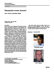 Bioanalytical reviews: foreword - Springer Link