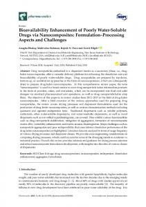 Bioavailability Enhancement of Poorly Water-Soluble Drugs via ... - MDPI