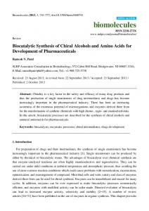 Biocatalytic Synthesis of Chiral Alcohols and Amino ... - BioMedSearch