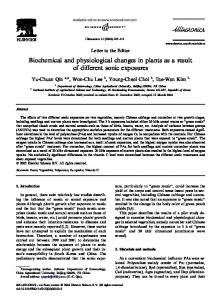 Biochemical and physiological changes in plants as a ...