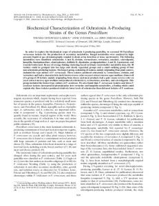 Biochemical Characterization of Ochratoxin A-Producing Strains of the ...