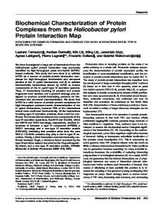 Biochemical Characterization of Protein Complexes from the ...