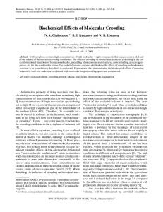 Biochemical Effects of Molecular Crowding - Springer Link