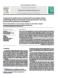 Biochemical Engineering Journal Comparison of artificial neural