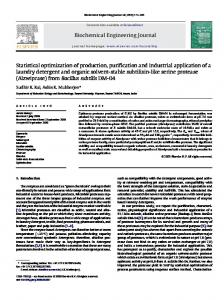 Biochemical Engineering Journal Statistical optimization of production ...