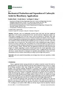 Biochemical Production and Separation of Carboxylic Acids - MDPI