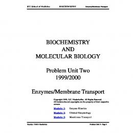 BIOCHEMISTRY AND MOLECULAR BIOLOGY Problem Unit Two ...