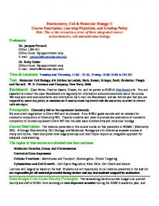 Biochemistry, Cell & Molecular Biology II Course Description ...