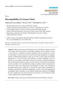 Biocompatibility of Coronary Stents
