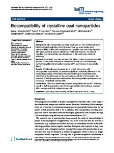 Biocompatibility of crystalline opal nanoparticles - BioMedSearch