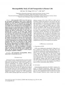 Biocompatibility Study of Gold Nanoparticles to Human ... - Springer Link
