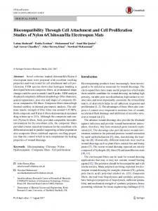 Biocompatibility Through Cell Attachment and Cell ...