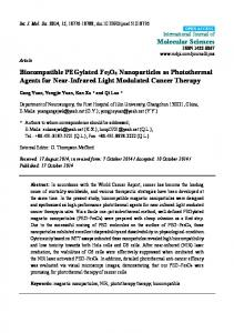 Biocompatible PEGylated Fe3O4 Nanoparticles as ... - Semantic Scholar