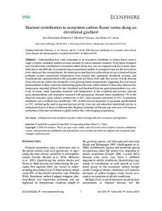 Biocrust contribution to ecosystem carbon fluxes varies along an ...