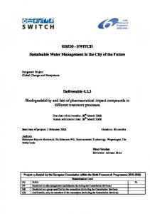 Biodegradability and fate of phamarceutical compounds - SWITCH ...