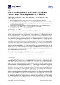 Biodegradable Polymer Membranes Applied in ... - Semantic Scholar