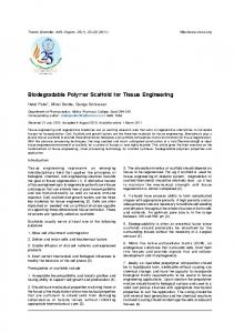 Biodegradable Polymer Scaffold for Tissue Engineering - medIND
