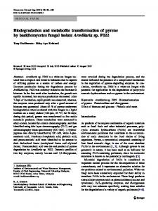 Biodegradation and metabolite transformation of pyrene by ...