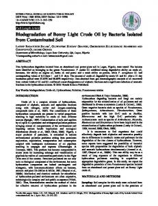 Biodegradation of Bonny Light Crude Oil by Bacteria Isolated from ...