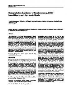 Biodegradation of carbazole by Pseudomonas sp. GBS.5 immobilized ...