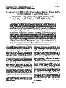 Biodegradation of Chlorpyrifos by Enterobacter Strain B-14 ... - ENVIS