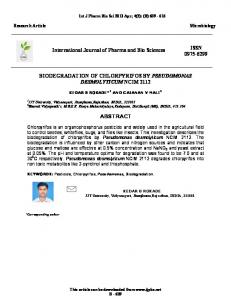 BIODEGRADATION OF CHLORPYRIFOS BY PSEUDOMONAS ...