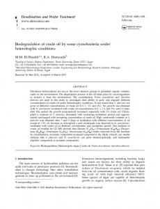 Biodegradation of crude oil by some cyanobacteria under ...