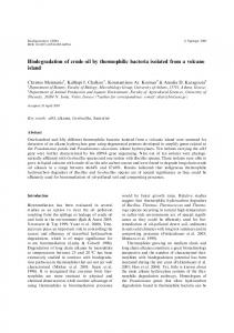 Biodegradation of crude oil by thermophilic bacteria isolated from a
