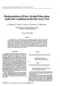 Biodegradation of Fatty Alcohol Ethoxylates under the ... - CiteSeerX