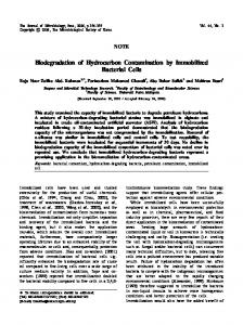 Biodegradation of Hydrocarbon Contamination by ...